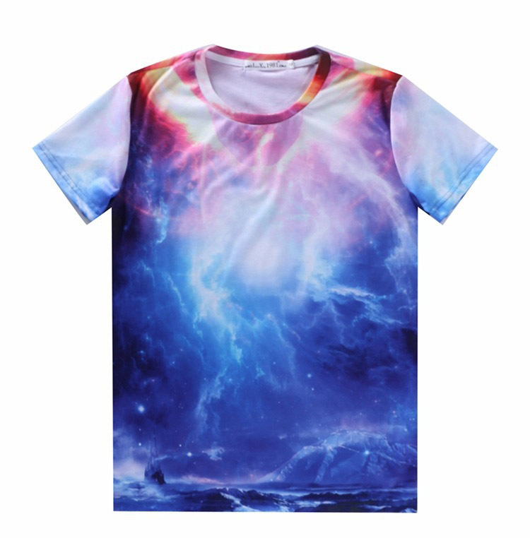 2015 Fashion Short sleeves T Shirts Galaxy Nebula Space ...