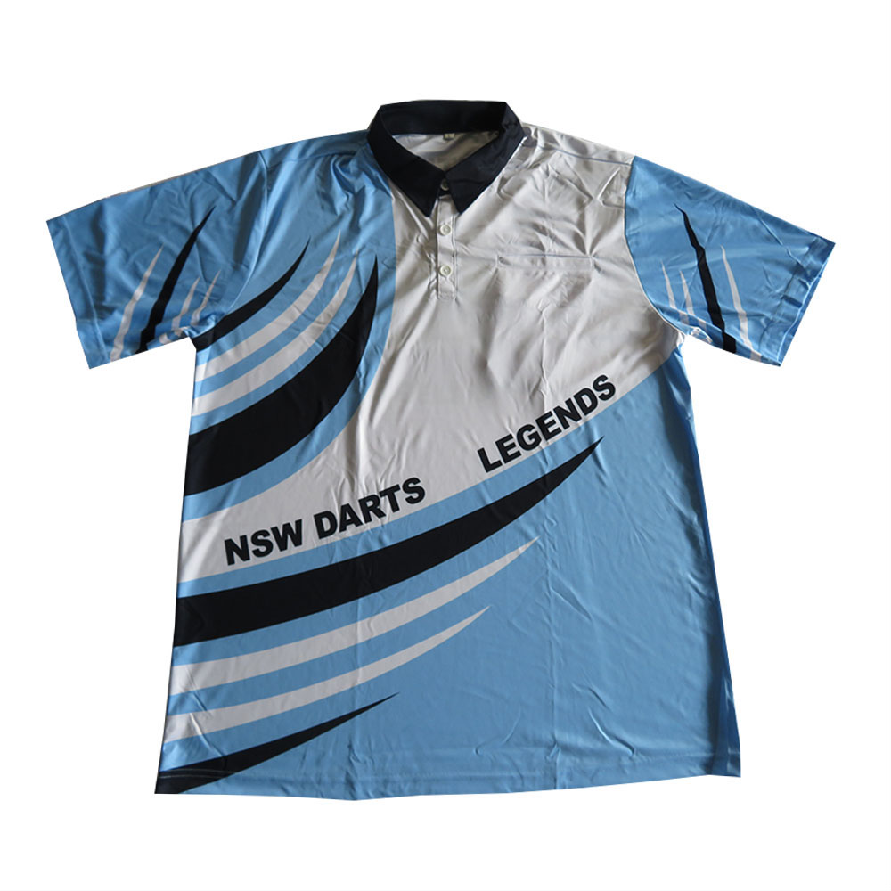 custom digital print raglan sleeves blue dart shirt men's dart polo T shirt