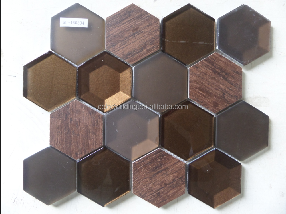2016 new design Hexagon brown glossy and matte crystal mixed marble mosaic tile for luxury decoration