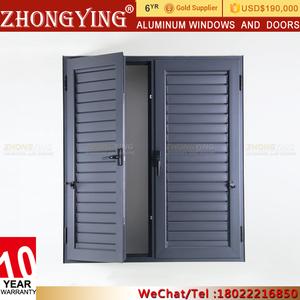 Exterior Fiberglass Louvered Storm Door , Exterior Metal Aluminum French  Sliding Sunshade Louver Door
