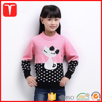 New Style Girls Cat Knitting Patterns Woolen Sweater Design For Kids