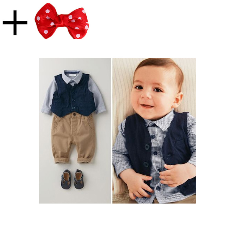 9 pcs 3 pieces set 2015 children's leisure clothing sets kids baby boy suit vest gentleman clothes for weddings formal clothing