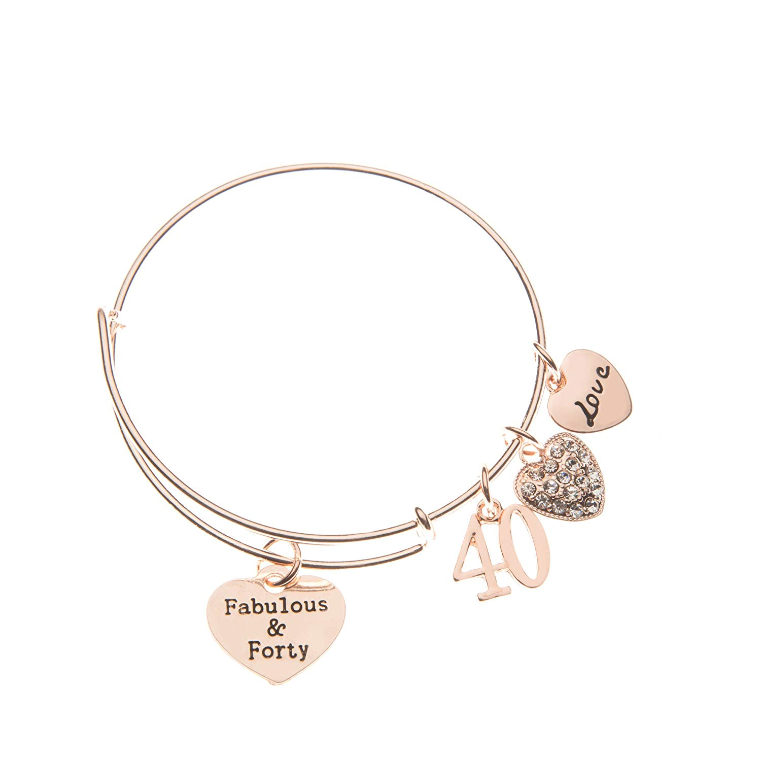 Get Quotations 40th Birthday Gifts For Women Rose Gold Expandable Charm Bracelet