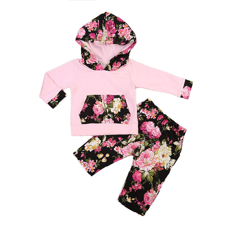 2933313af362 Get Quotations · ITFABS Baby Girl Pink Hoodie Floral Pants Cute Adorable  Hoodie with Floral Pocket + Flower Printed
