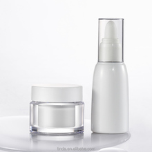 Cosmetic 60ml cylinder shape pet plastic eye dropper bottle white transparent personal care packaging with 50ml face cream jar
