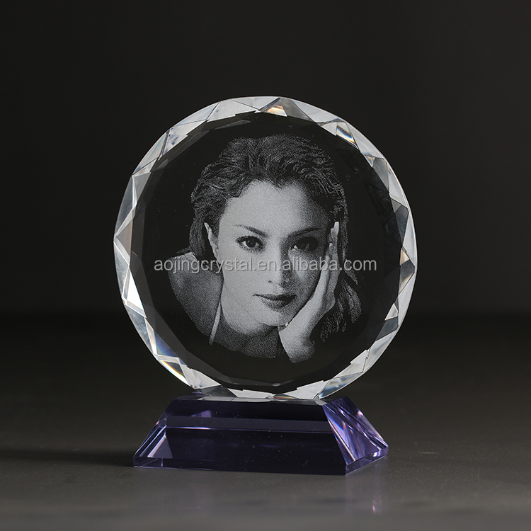 China supply crystal 3D laser engraved photo inside