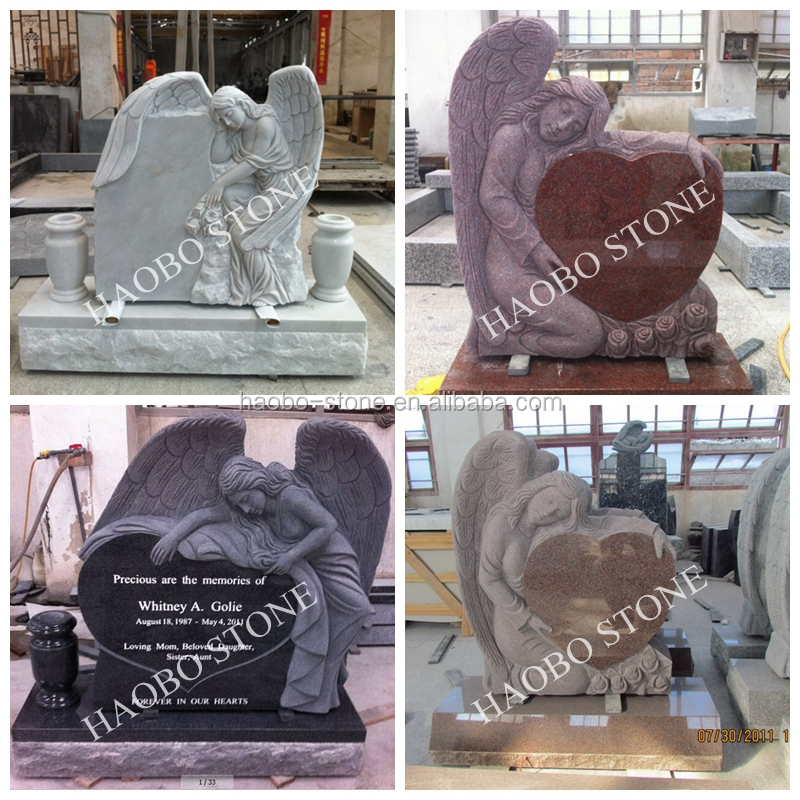 Red Granite Heart Shaped Angel Cemetery Monuments Buy