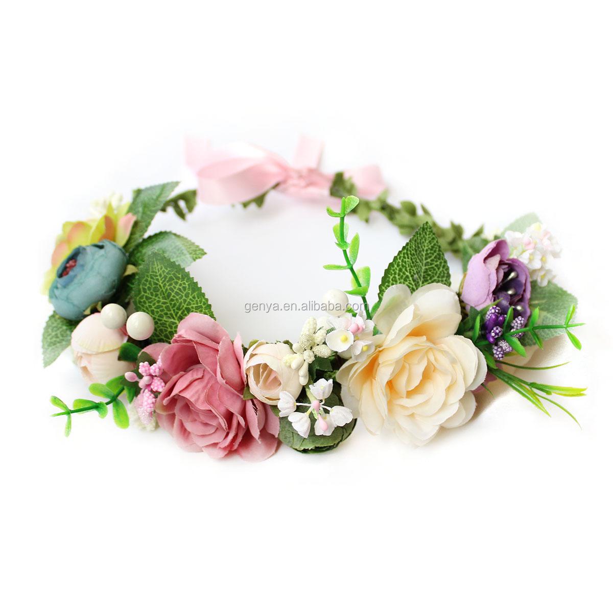 Fancy wedding veil hair accessories handmade crystal flower headband for bride crown tiaras headwear
