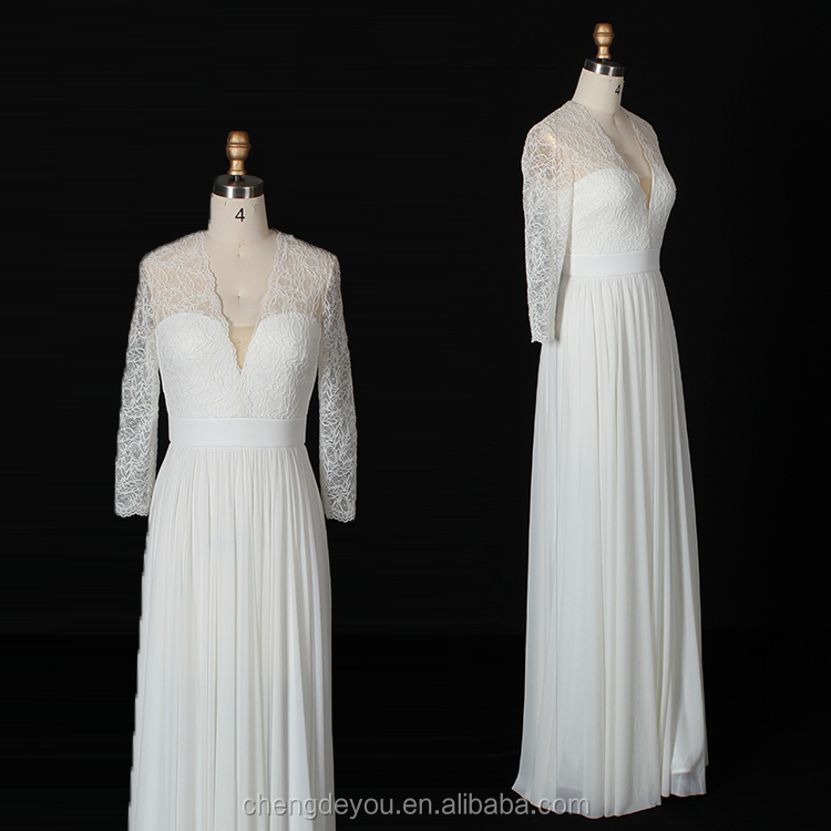Latest style white long sleeve lace wedding dress bridal gown for export standard