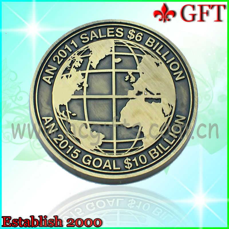 2013 Best Selling engrave challenge old world coin/cheap challenge coins for promotional gifts