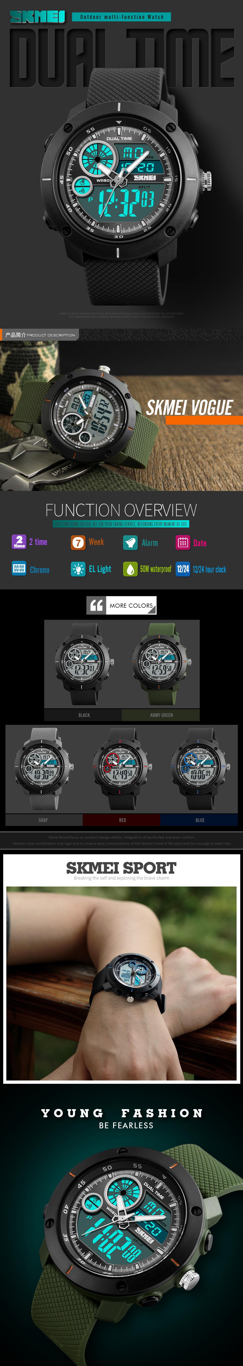 SKMEI 1361 erkekler rahat spor saat dilimi izle su geçirmez Alarm Chrono kol saatleri