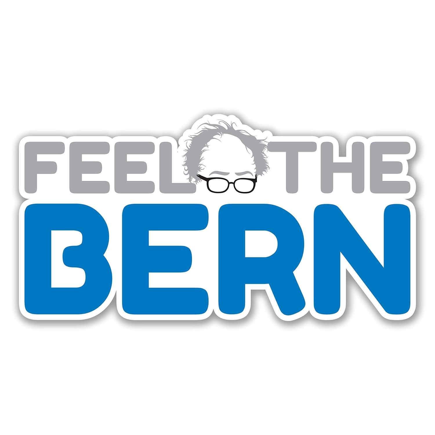 Feel the bern bernie sanders bumper sticker 2016 freedom liberal enlightened white car truck