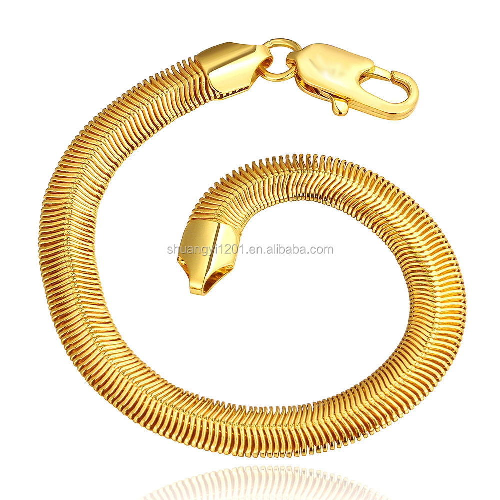 7mm Gold Plated Stainless Steel Chunky Herringbone Flat Snake Chain Bracelets 20 cm