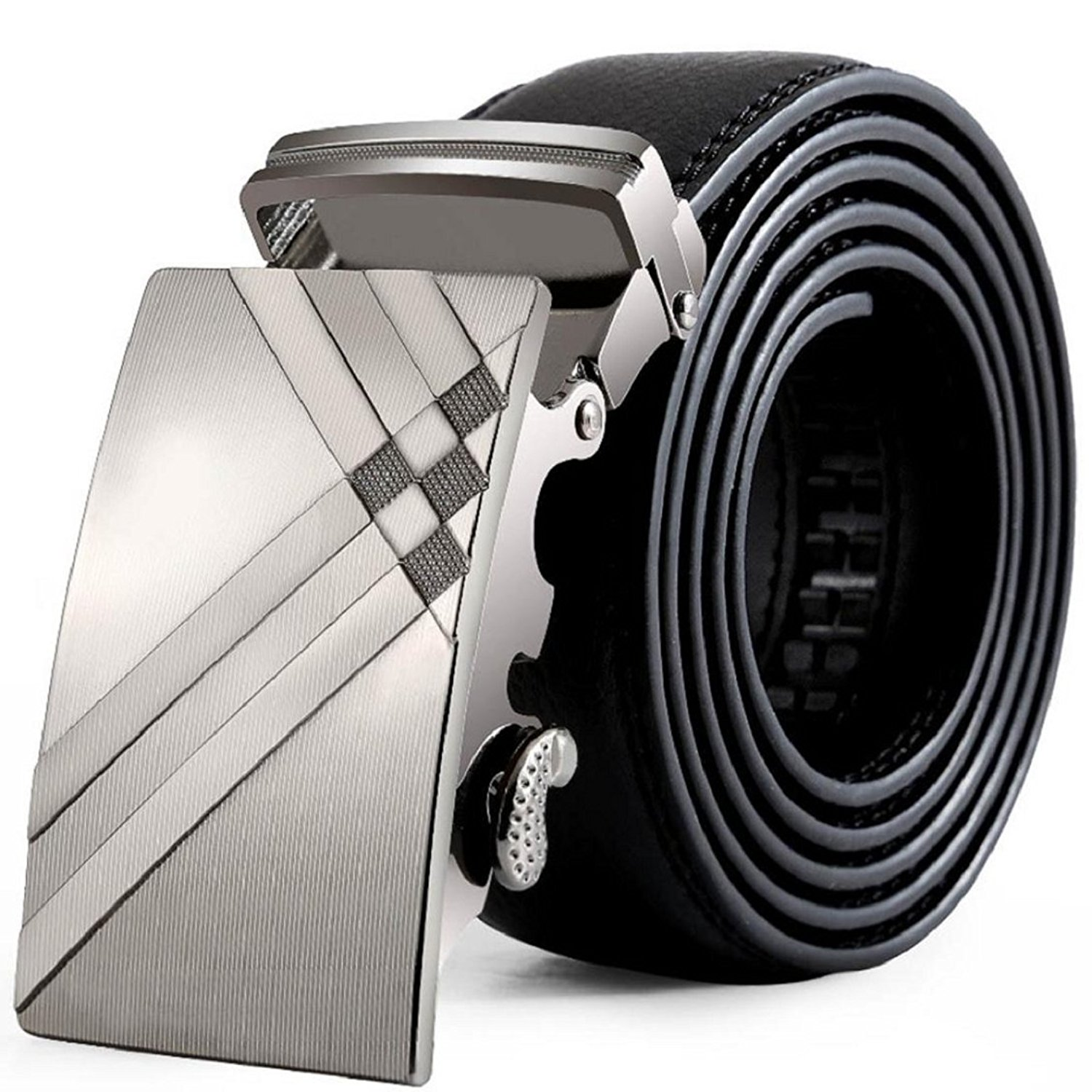 Vovomay Men's 125cm Leather Adjustable Waist Strap Belt with Automatic Buckle