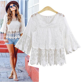 Women blouses 2018 new summer white lace blouse Women V neck Three Quarter Sleeve Hollow out sexy shirts Plus size Ladies Tops