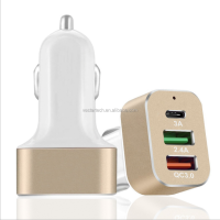 2017 new products quick car charger 3.0 with 2 usb ports and Type-C interface
