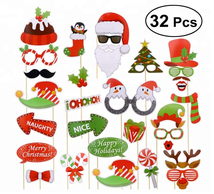 Vrolijk Kerstfeest Decoratie 32 stks Christmas Party Photo Booth Props