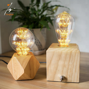 Hot Sale Wood Base Vintage Table Lamp 2 pins Plug On/Off Switch Home Desk Single Head Lighting