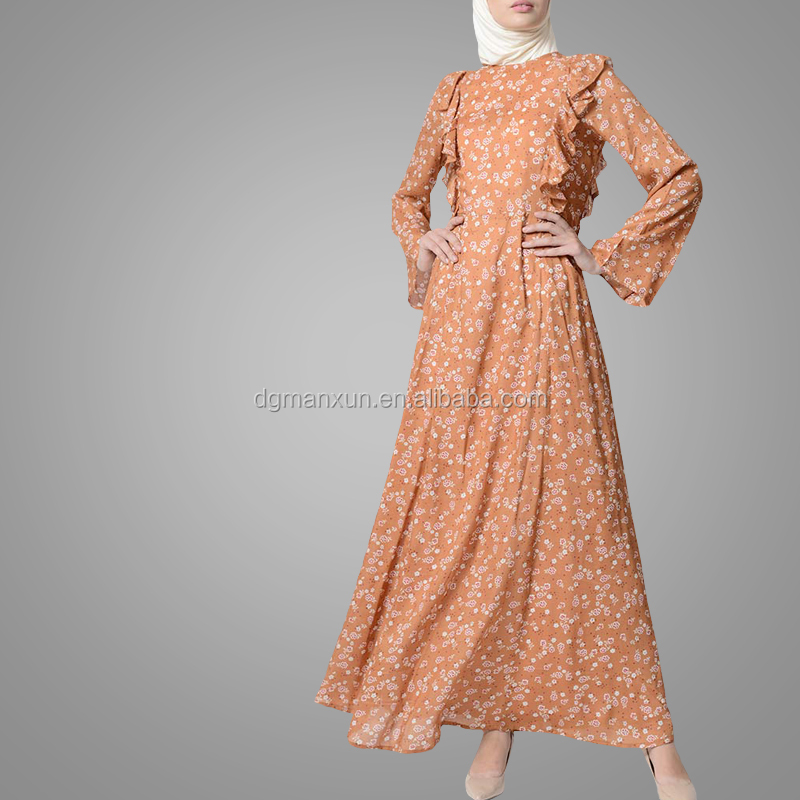 Casual Adults Age Group Subtle Peach Glow Print Abaya Dress Turkish Style Islamic Clothing Muslim Jalabiya