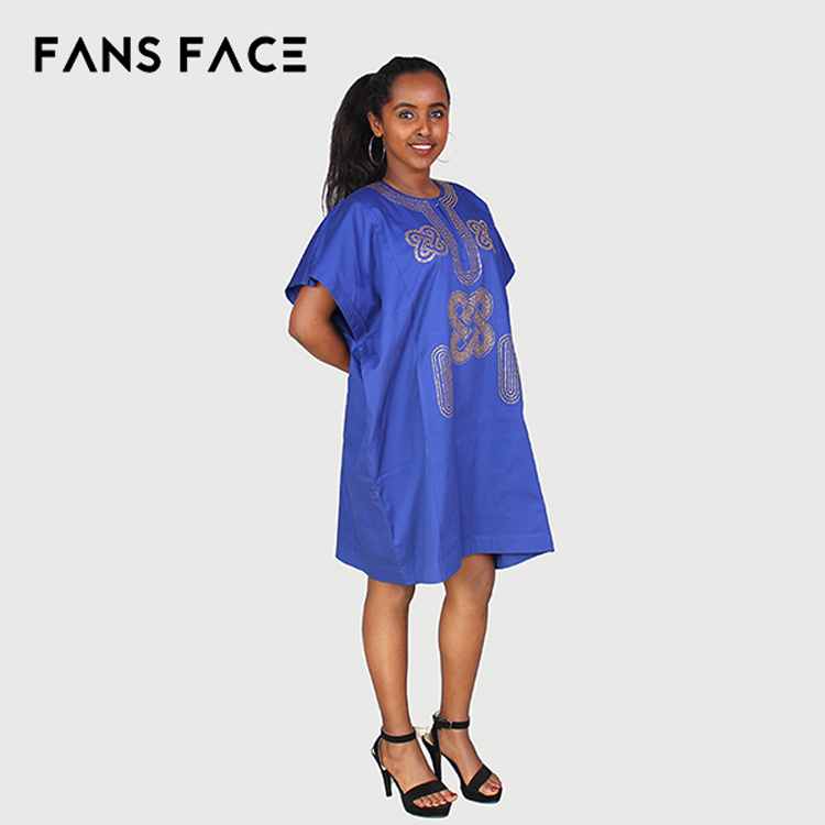 Hot selling new design blue wholesale OEM Custom Cheap Dashiki Shirts for women