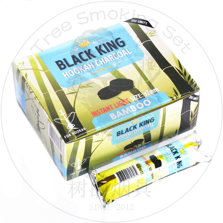 TTAN0114 Black king hookah charcoal bamboo charcoal for hookah size: 33mm 100pcs Hot hookah charcoal in South Africa