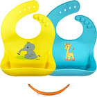 Baby Waterproof Bibs Silicone Bib for Babies and Toddlers, Soft Baby Feeding Bib Easy To Keep Clean