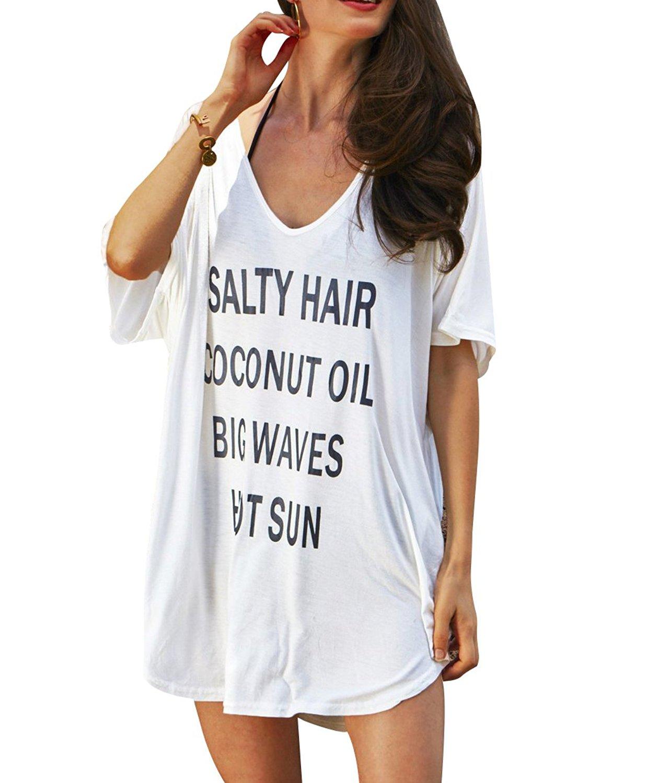 a4ff52fbbcef0 Product description. Westore Bikini Cover Ups T Shirt Swimsuit Body Covers  Beach Dress - Loose