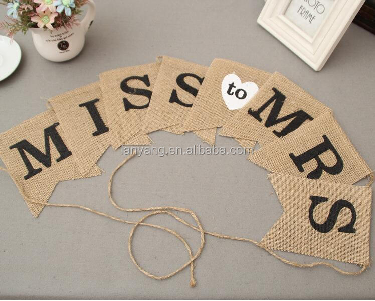 MISS TO MRS Hessian Burlap Rustic Vintage Banner Bunting Bridal Shower Hen Party