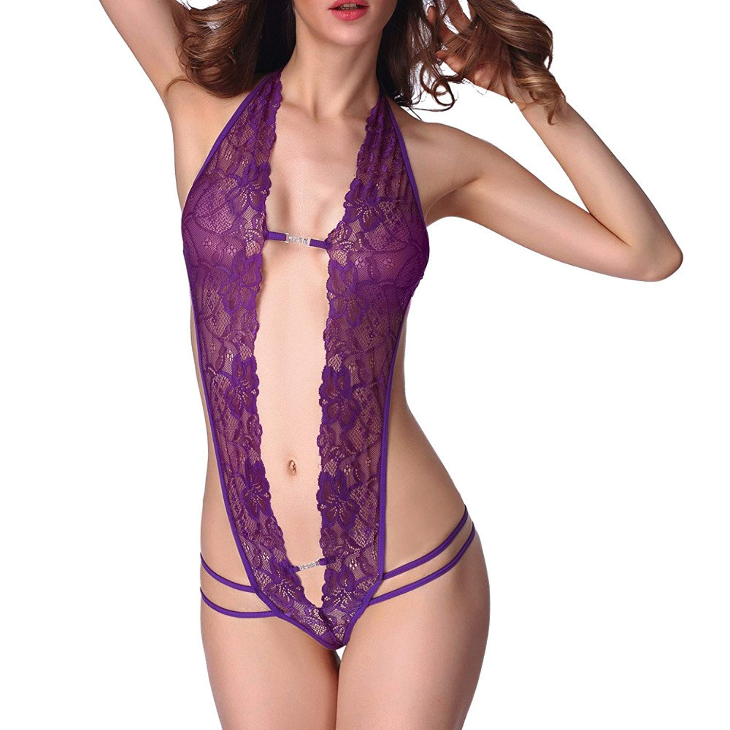Lingerie Set For Womens,Clearance Sale -Farjing Women Sexy Lace lace-ups Hollow Out Temptation Racy Sleepwear Jumpsuit Set