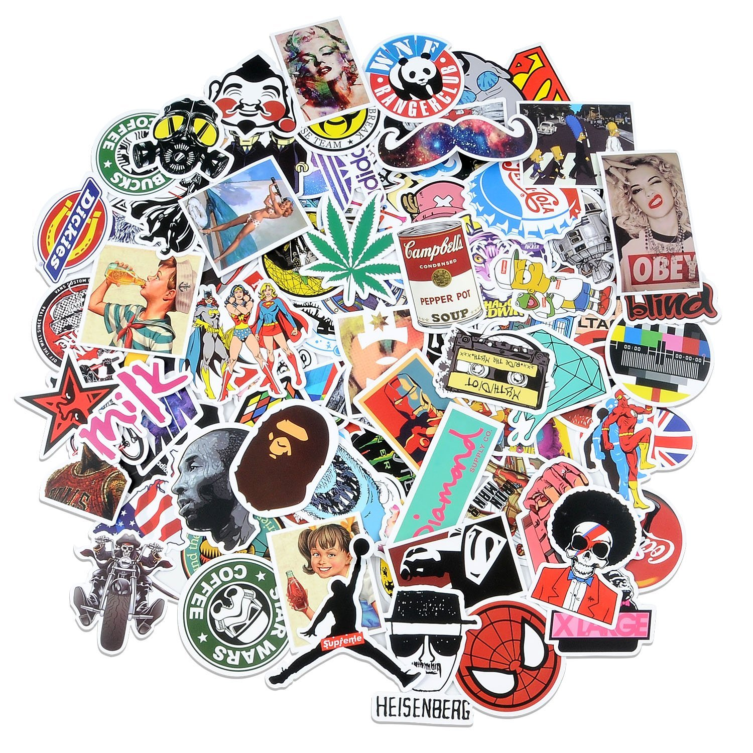 Car Stickers [100 pcs], Breezypals Laptop Stickers Motorcycle Bicycle Luggage Decal Graffiti Patches Skateboard Stickers for Laptop - No-Duplicate Sticker Pack