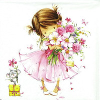 4 x Single Luxury Paper Napkins for Decoupage and Craft Little Princess