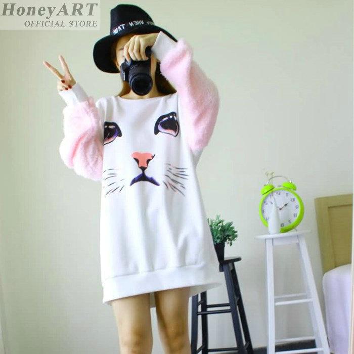 Толстовки зимой беременным кот печать прекрасный осенний материнство толстовка одежда зимняя длинным рукавом FF1731