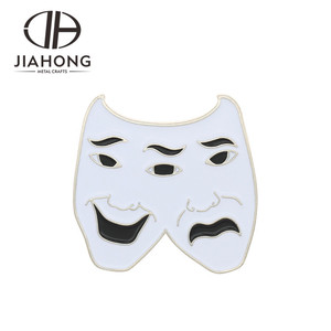 Factory directed funny comedy drama mask metal figure pin badge