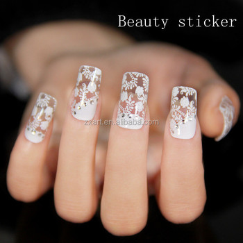 Wedding Use Beautiful Nail Lace Sticker Glitter Silver