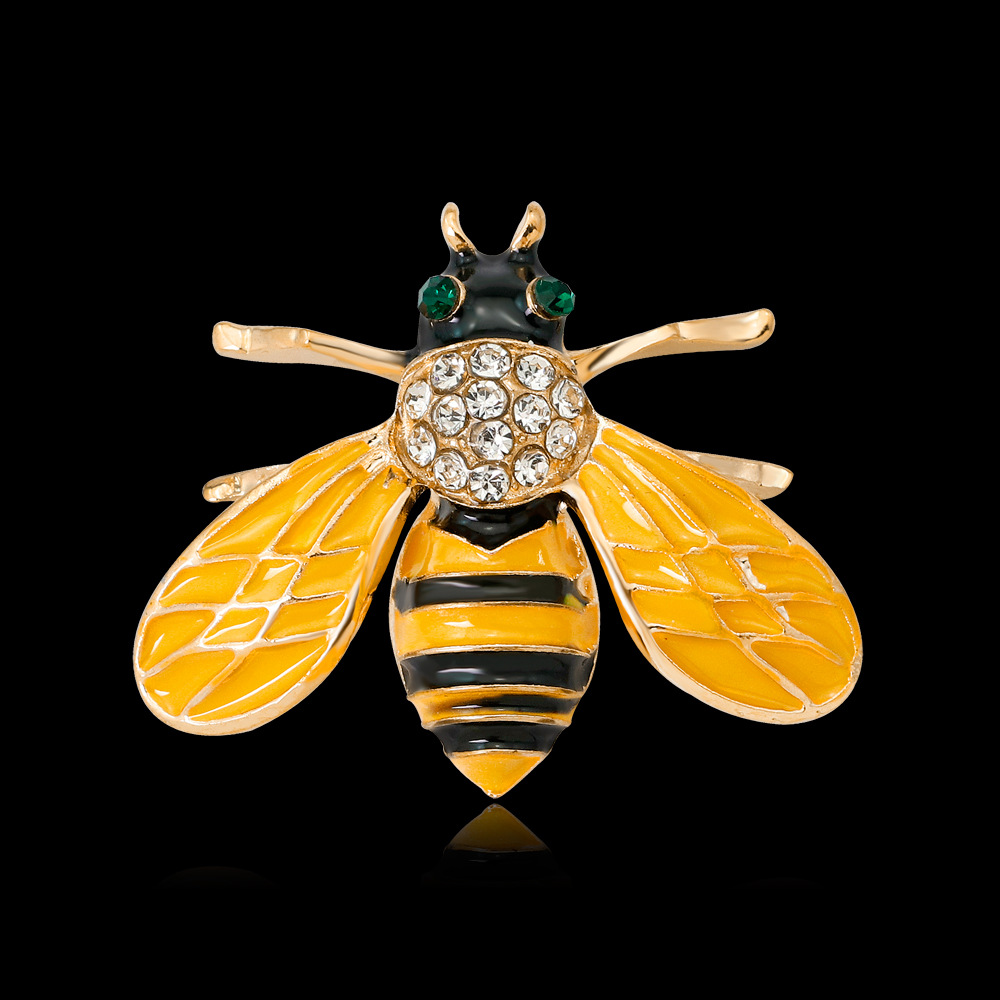 Elegant gold bumble bee brooch pin for suit clothes