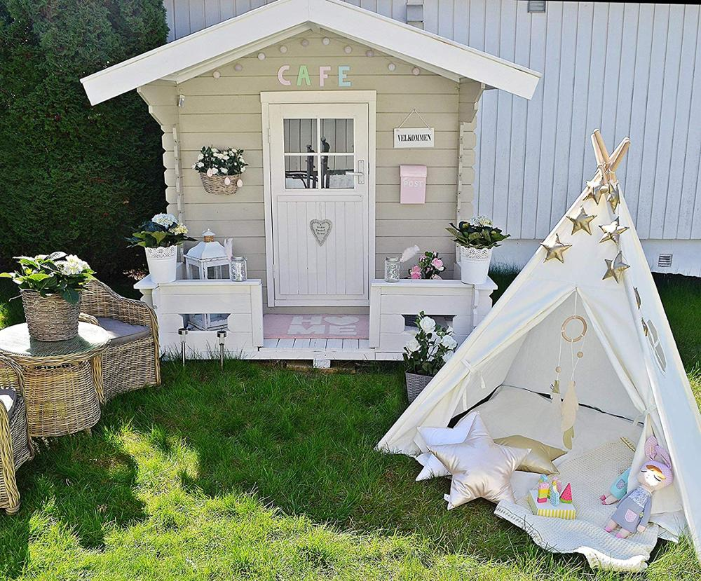 Kids Teepee Tent Children Play Tent Indoor &Outdoor Kids Playhouse White Canvas Teepee with Wood pole