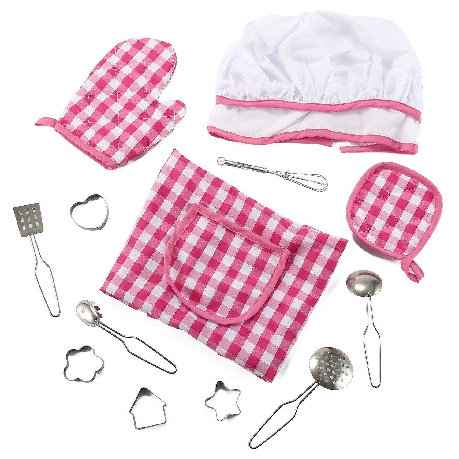 Liberty Imports 13 Piece Deluxe Kids Cooking and Baking Set | Includes Apron, Chef Hat, Mitt & Utensils for Dress Up | Chef Costume Career Role Play Kit Toy - Ideal Gift for 3, 4, 5, 6 Year Old Girls