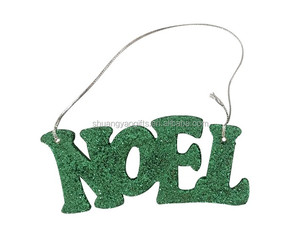 "Wooden christmas ""NOEL"" letter hanging ornaments for XMAS tree with yellow shining glitter"