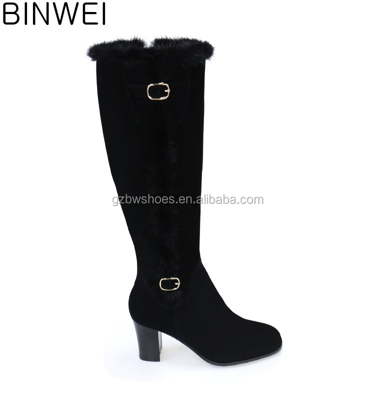 Guangzhou genuine leather long boots factory OEM/ODM woman dress shoes