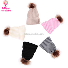 09d60bcab69 Add to Favorites. 5 Colors Winter Warm Knitted Faux Fur Pom Pom Kids Cap  Toddler Boys Girls Crochet Hairball Slouch Baby Beanie Hat