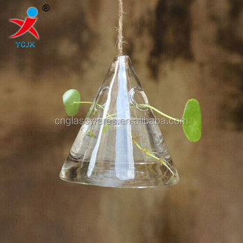Unique Lovey Hanging Clear Cone Triangle Glass Vase Buy Clear Cone