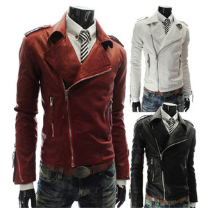 New arrival Western Men fashion zipper up slim fit windbreaker motocyclye leather coat jackets biker
