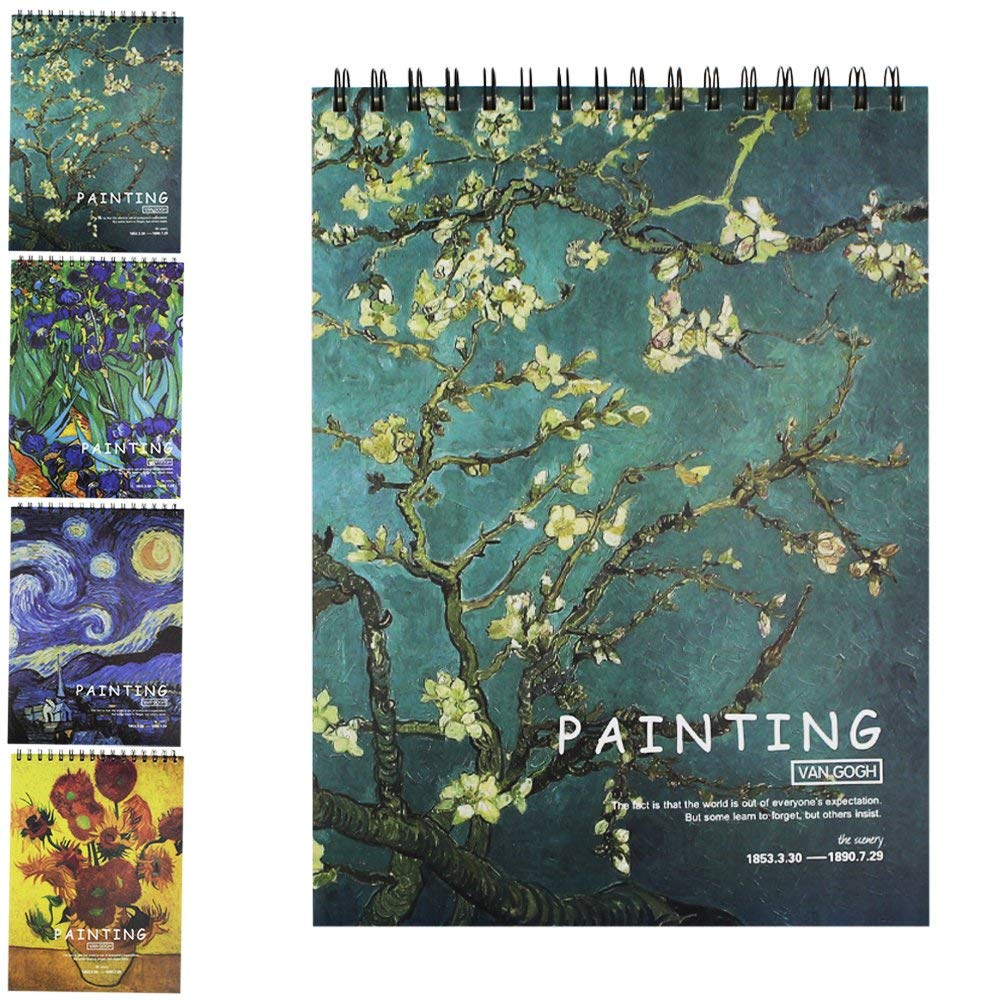 Sketch Book,Sketch Pads,Spiral Bound Sketchbook,Blossoming Almond Tree Sketching Book,70 Ib/100 g,8.25x11.25 inch Art Notebook,Pencil Graphite Crayons Pen Drawing Paper,Drawing Pad,A4,50Sheets