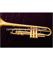 Yellow Brass Wind musical Instrument trumpet Gold Lacquer Finish Bb Key Trumpet for sale