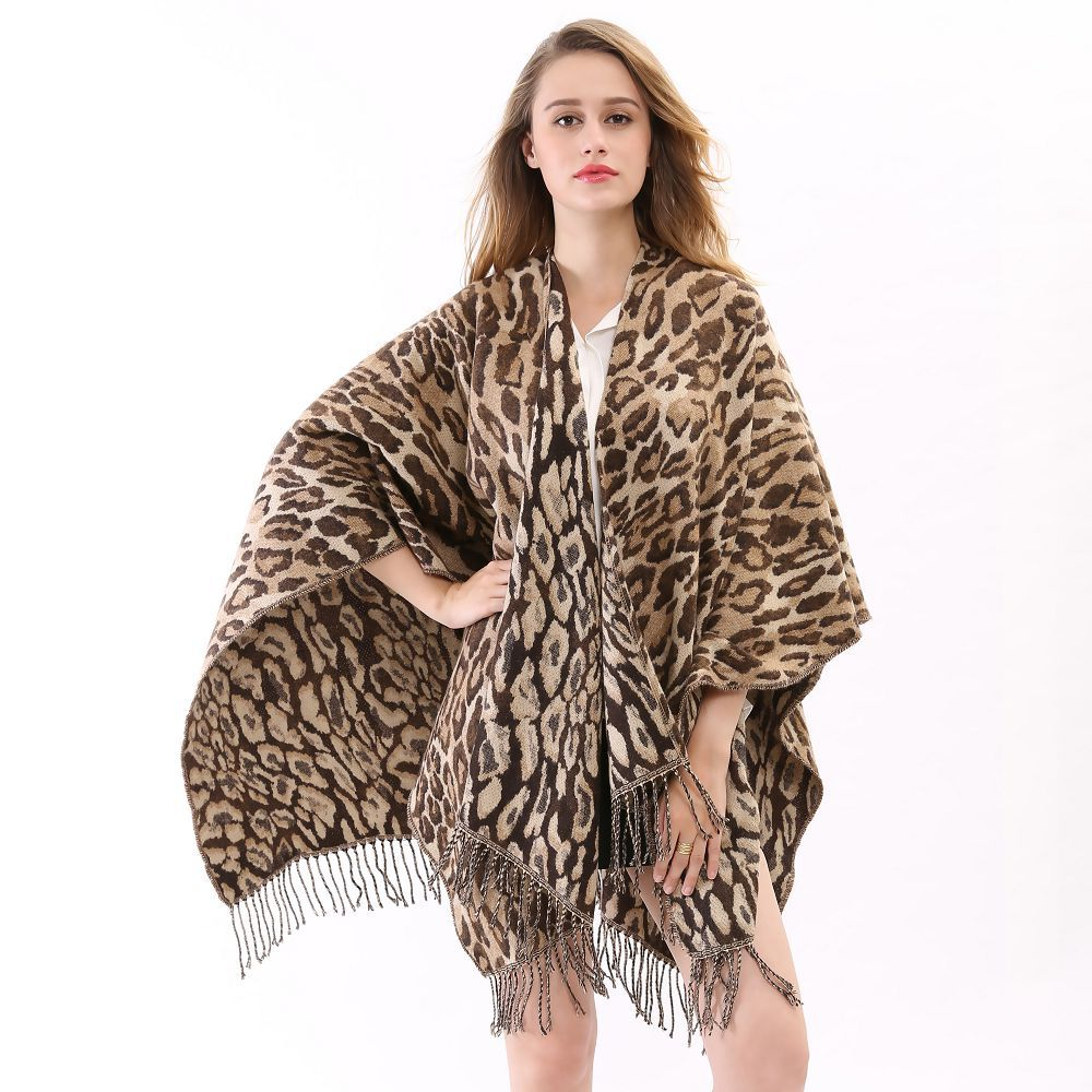 2015 Winter Fall New Brown Wool Prorsum Cashmere Tassel Sexy Cloak Brand Knitted Women Winter Leopard Print Blanket Poncho
