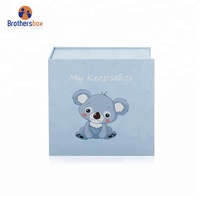 High end blue baby cardboard keepsake box wholesale
