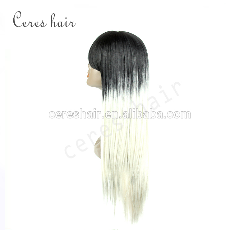 straight dark root white ombre wig synthetic hair