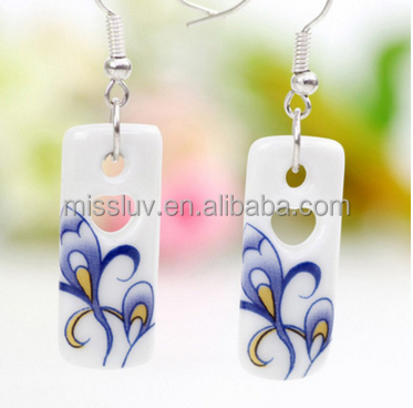 White ceramic silver 925 earrings square love heart drop earring 925 sterling silver earrings