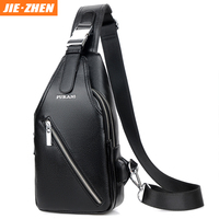 New Design high quality USB chest shoulder sling bag men sport business travel PU leather sling bag