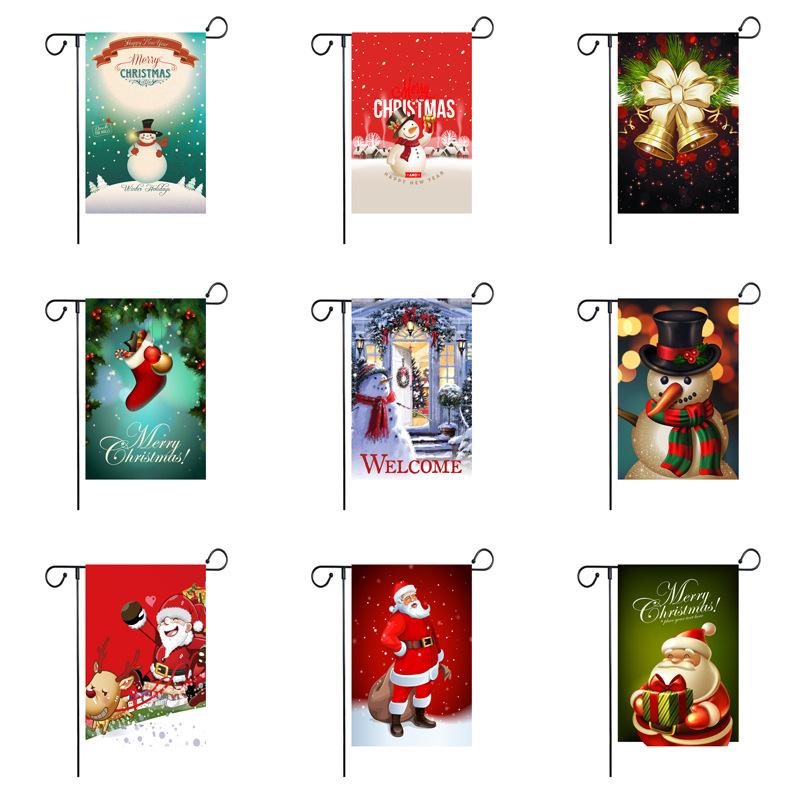 Polyester Linen Giáng Sinh Vui Vẻ Vườn Cờ Nhà Trang Trí Nội Thất Mini Sân Biểu Ngữ